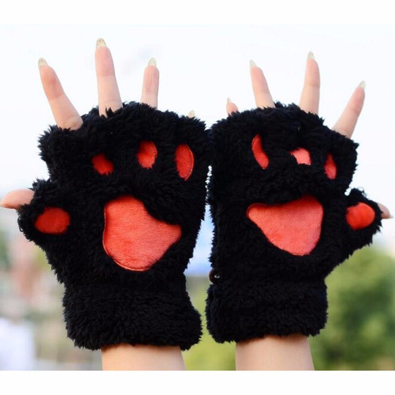 Warm Soft Bear's Paw Furry Thick Half Finger Fluffy Gloves