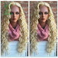 7A 130% Density Brazilian Kinky Curly Lace Front Virgin Hair Human Hair Glueless Full Lace Wigs #613 With Baby Hair Free Part