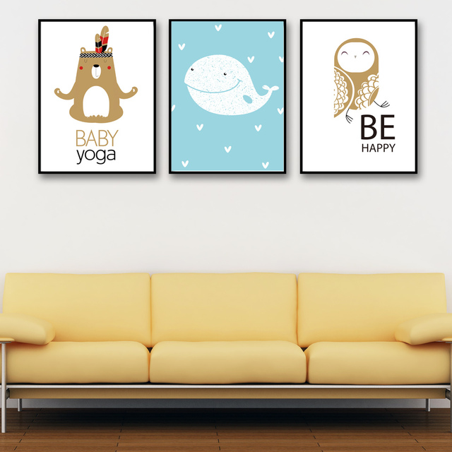 Nordic Minimalist Cartoon Bird Whale Bear Baby Yoga Wall Art Canvas ...