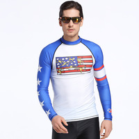 SBART 2017 Mens Rash Guards Long Sleeves Sunscreen Swimwear Quick drying Diving Suits Shirt Anti UV Diving Swimming Surfing Tee
