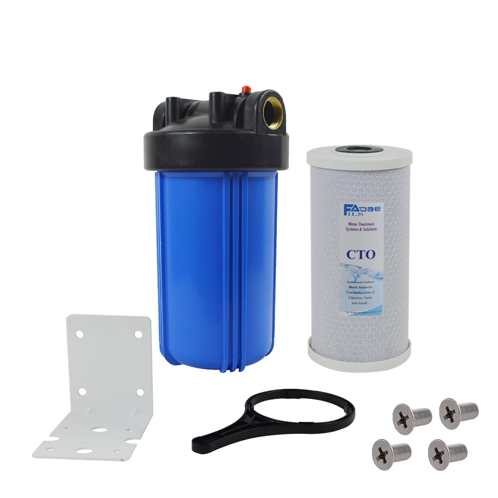 1-Stage Whole House Water Filtration system with 10-Inch Carbon Block Filter,Mounting bracket ,Screw&Wrench ,1 inlets&outlets whole house water filtration system under sink water filter wth 803