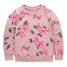 Saltando Metros Meninas Hoodies Crianças Tops Manga Longa Floral Hoodies    Camisolas Do Bebê Crianças camisas 02a6db104c3ed