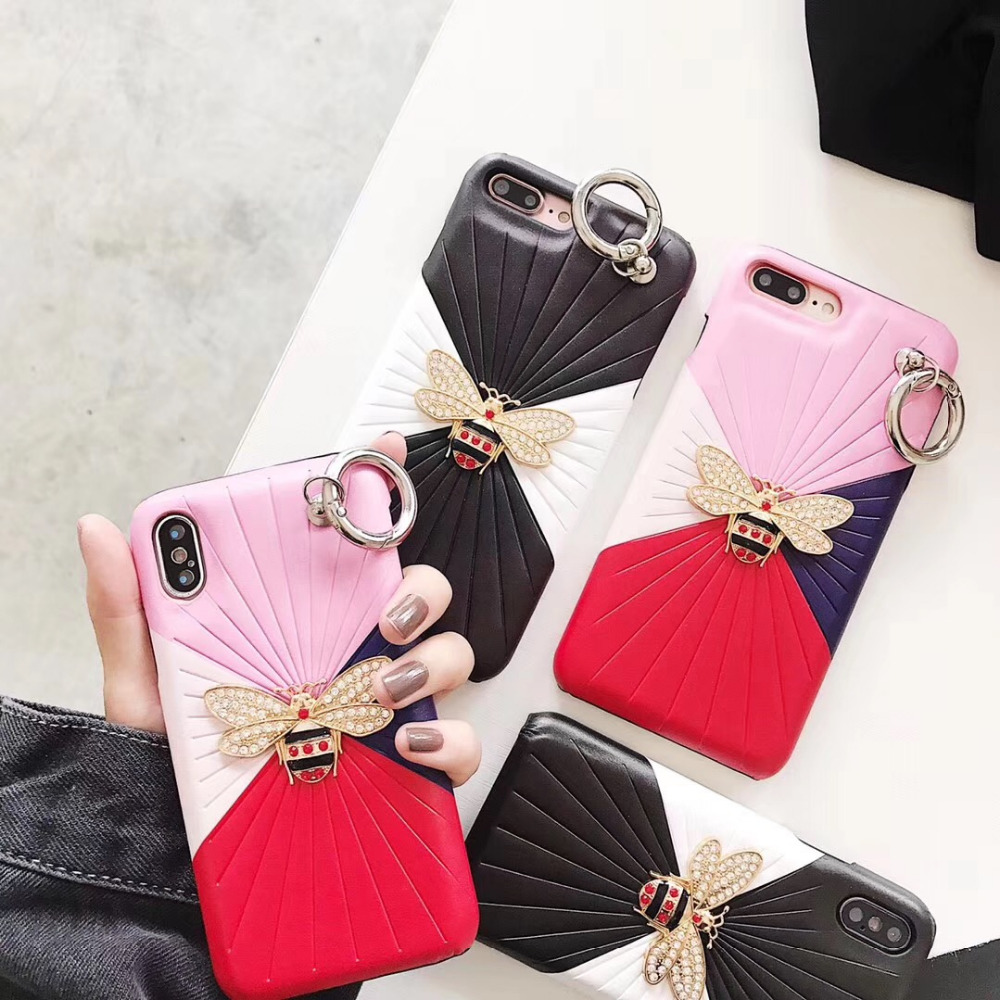 maosenguoji bee Hit color Stitching dermatoglyphs Mobile Phone Case for iphone6 6s 6plus 7 7plus 8plus X fashion Couple case