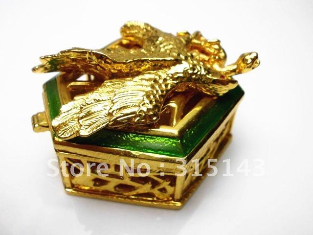 Wholesale(80pcs Pack)-2012 new Eagle sharp gold plated pewter Alloy metal jewelry box