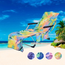 Portable Super Soft Microfiber Beach Chair Cover Folding Pocket Towel Chaise Lounger With Storage Pockets
