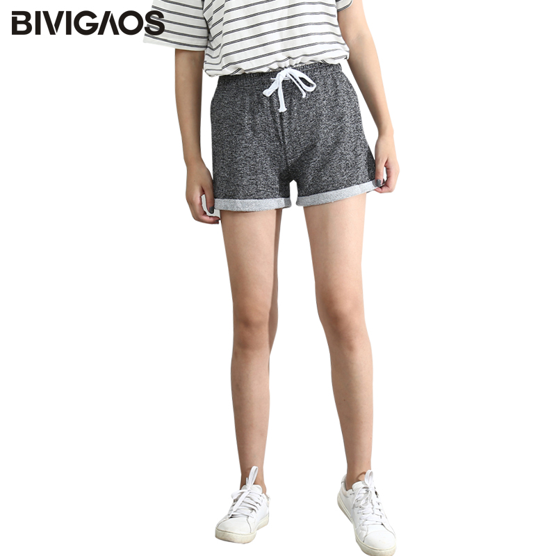 BIVIGAOS Summer Womens Drawstring Wide Leg Shorts Loose Workout Shorts Female Hemming Terry Short Home Casual Shorts For Women