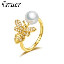ERLUER rings for women Adjustable crystal bee jewelry Girl Rose gold imitation pearl zircon ring fasion jewellery accessories(China)