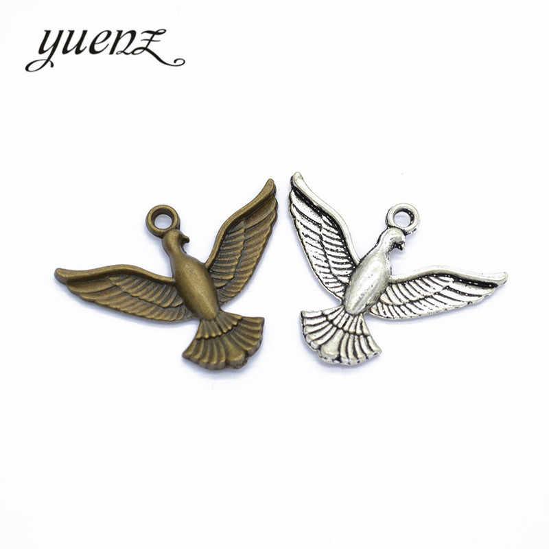 YuenZ 5 piezas 2 colores tibetano Chapado en plata colgante antiguo pájaro encantos joyería hacer bricolaje artesanal 37*29mm D530