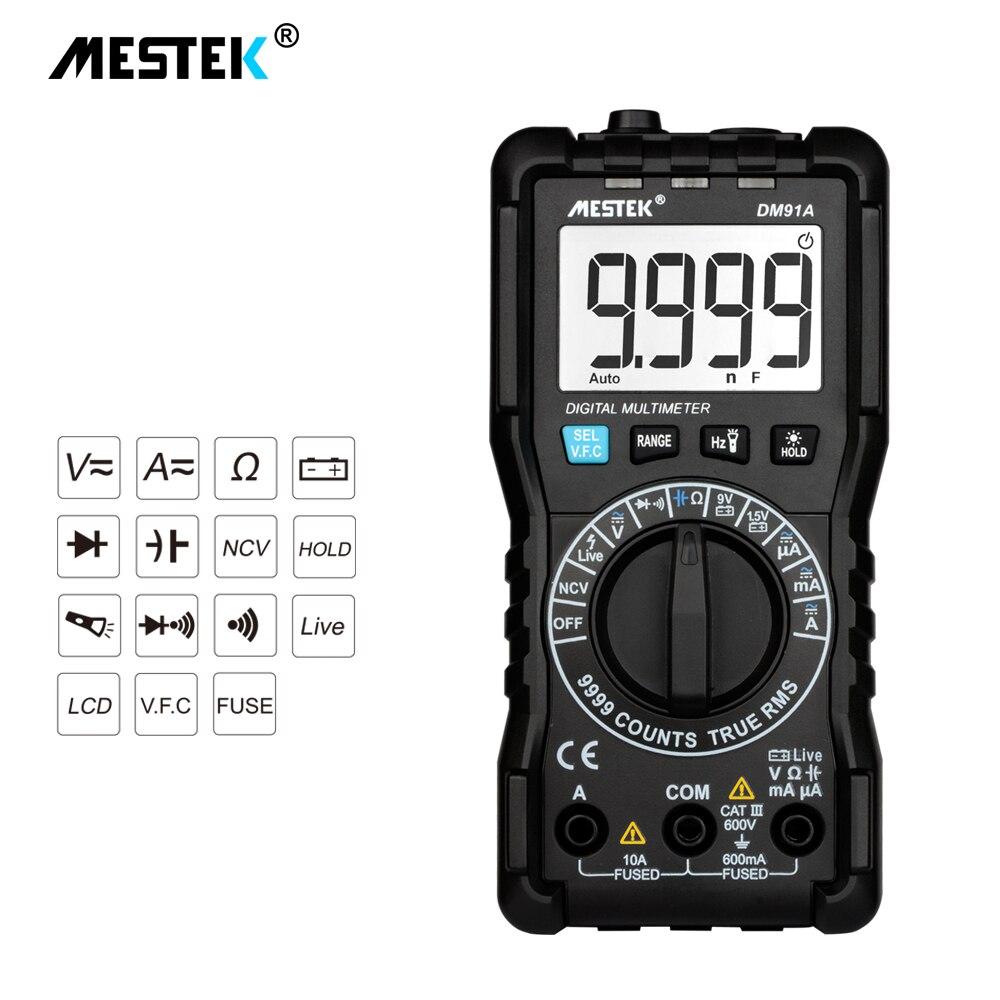 MESTEK Handheld LCD Digital Multimeter 9999 Zählt Multimetro Auto Ranging Multitester AC/DC Volt Amp Ohm Diode Kontinuität Tester