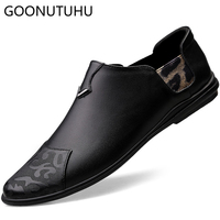 2019 new fashion men's shoes casual genuine leather loafers classic brown white black shoe man big size 46 driving shoes for men