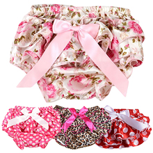 Baby Girls Flower Dots Bowknot Pettiskirt Ruffle Panties Briefs Bloomer Diaper Cover