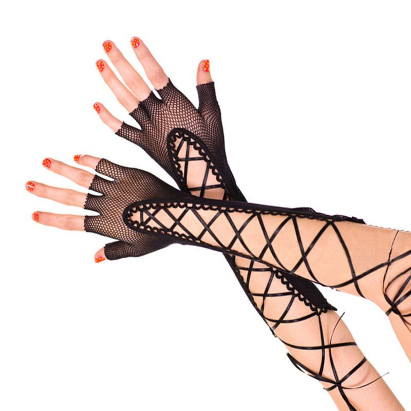 Womens Half Finger Solid Punk Style Elbow Long Gloves Hollow Out Fishnet Criss Cross Lace Up Bandage Mittens Dance Party