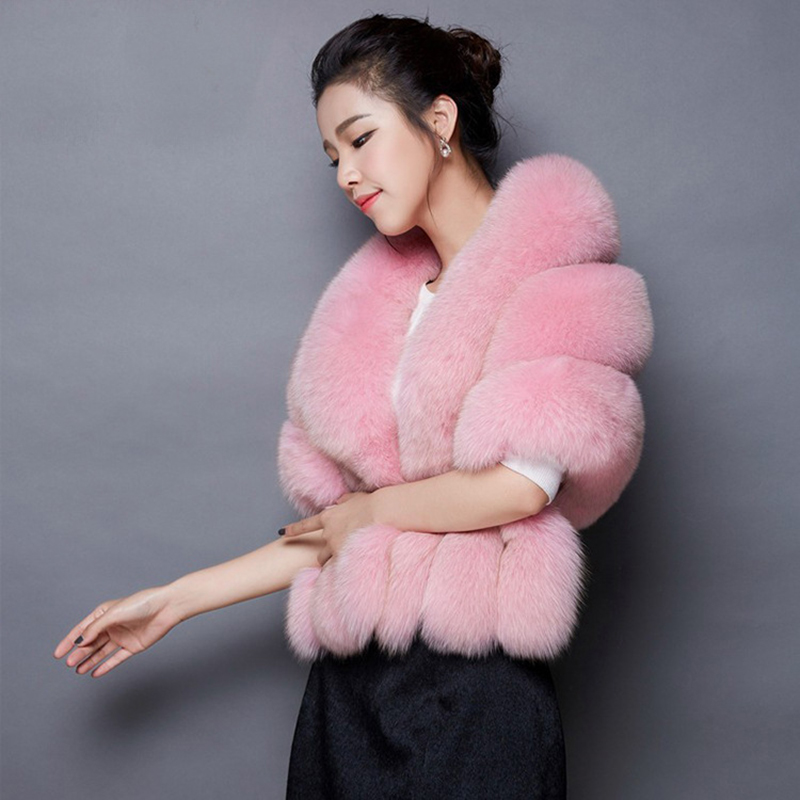 Black/Red/Gray/Pink/Ivory Faux Fur Womens Wedding Shawls Bridal Wedding Jackets Warm Autumn Winter Wraps Evening Party Capes