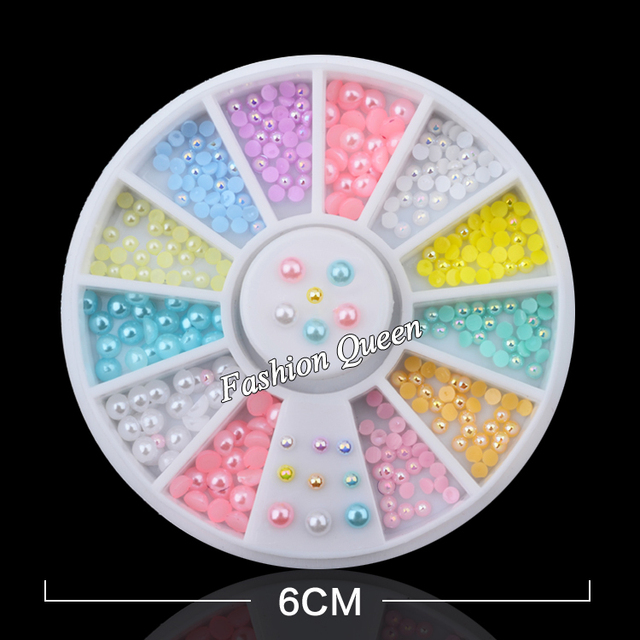 Hot 12colors Mix Sizes Pearl Nail Art Stickers Tips Decoration Wheel Glitter Nail Rhinestone Decoration Tools