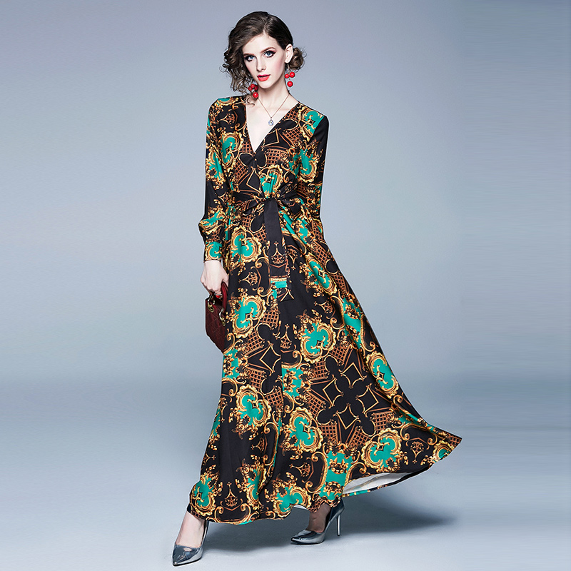 Banulin Runway Designers Women Ladies Dress V neck Bow Tie Up Waisted Fashion Casual Printed Vintage Dresses Vestidos robes in Dresses from Women 39 s Clothing