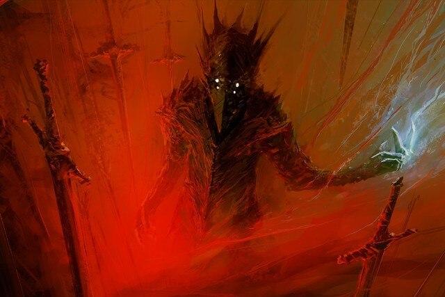 paintings red berserk fantasy art science fiction artwork swords
