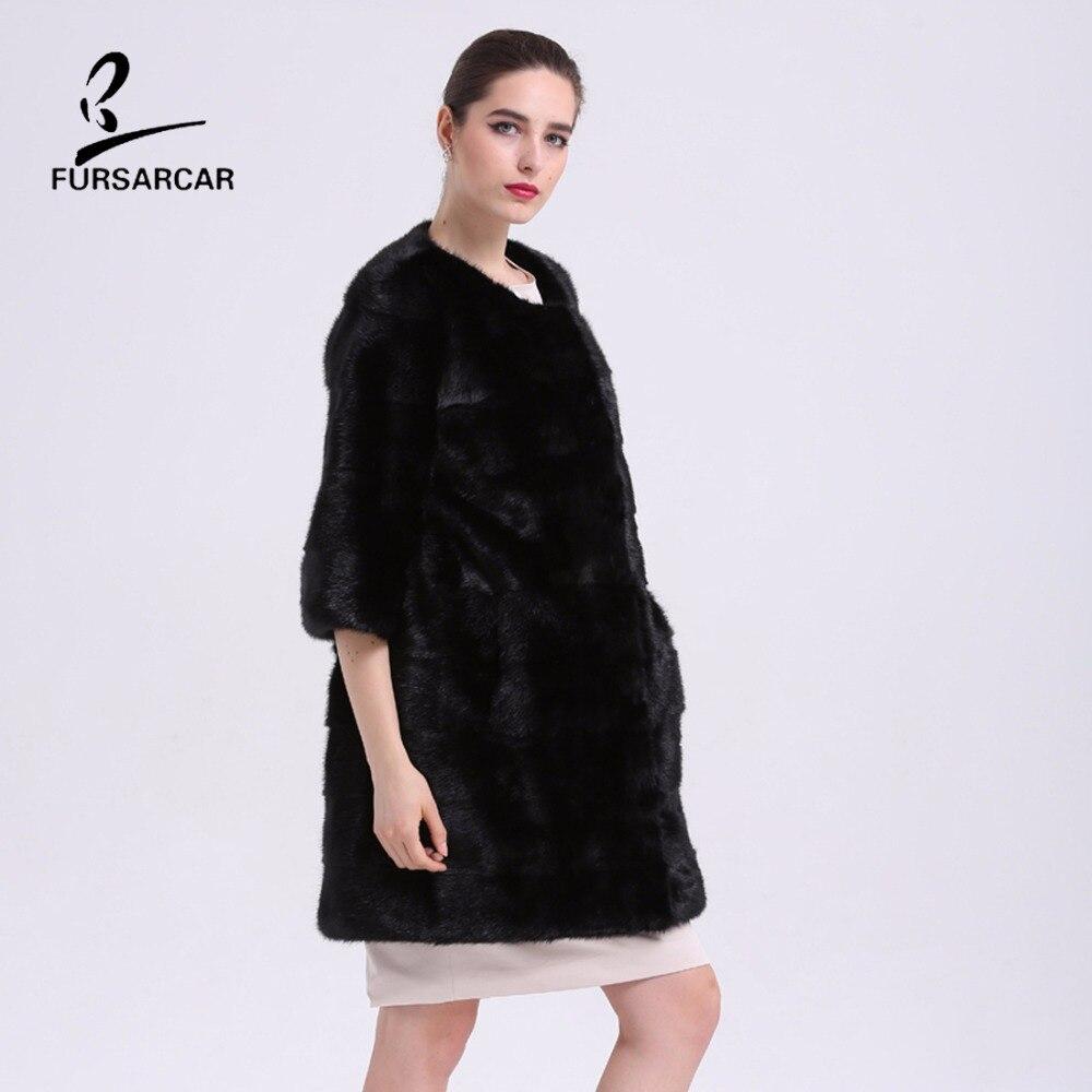 2019 Nuevo lujo Elegante 100% Real Natural Abrigos de piel de visón - Ropa de mujer