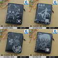 Gray-black Anime One Piece/Black Butler/Naruto/Conan/Fairy Tail/Gintama/Death Note PU Wallet/Short Purse with Zipper