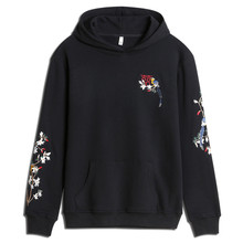 Chinese style magpie embroidery mens sweatshirts simple cotton loose oversized hoodies men hip hop  harajuku couple pullover