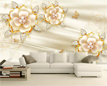 beibehang Custom size three-dimensional floating wallpaper carved jewelry flower European retro background wall paper painting