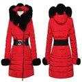 Más caliente del invierno mujeres embarazadas chaqueta abajo, imitación de piel de collares de las mujeres embarazadas de algodón abrigo, ropa de invierno de las mujeres