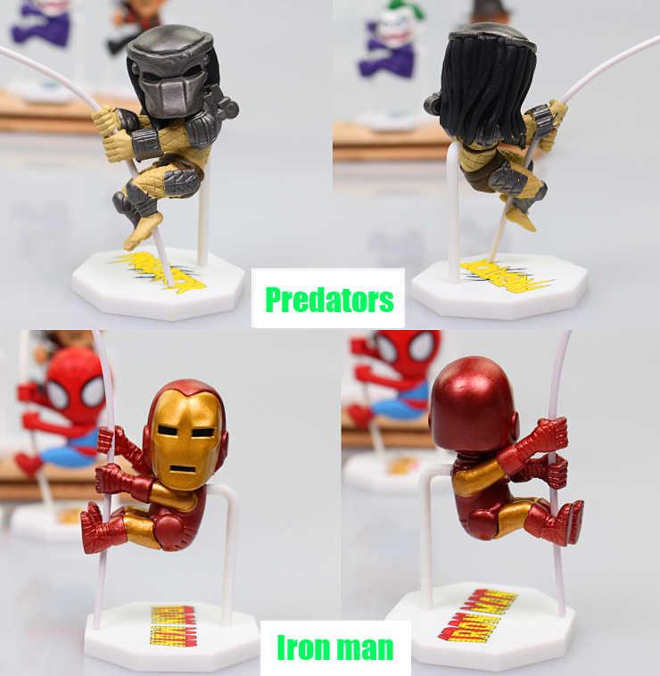 8 pçs/set Famoso Personagem Coringa Spiderman Batman Homem de Ferro Alienígena Predadores Freddy Jason Figura de Ação Brinquedos