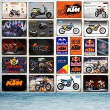 Двигатель KTM Гонки металлические знаки классический мотоцикл плакат Винтаж Живопись табличка наклейки на стену для бара, паба комнаты украшения дома