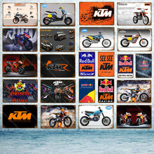 Motor KTM Racing Metal Signs Classic Motorcycle Poster Vintage Painting Plaque Wall Stickers For Bar Pub Room Home Decoration(China)