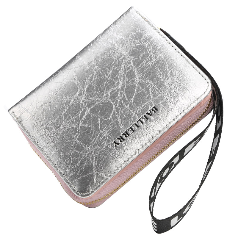 New Women Strip Short Wallet Silver Female Purse Ladies Wallet With Zipper Coin Bag Money Purse Small Red Black Wallet For Women