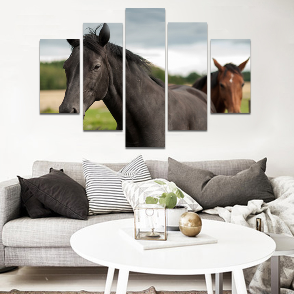 Unframed Canvas Animal Painting Racecourse Dark Horse Picture Prints Wall Picture For Living Room Wall Art Decoration