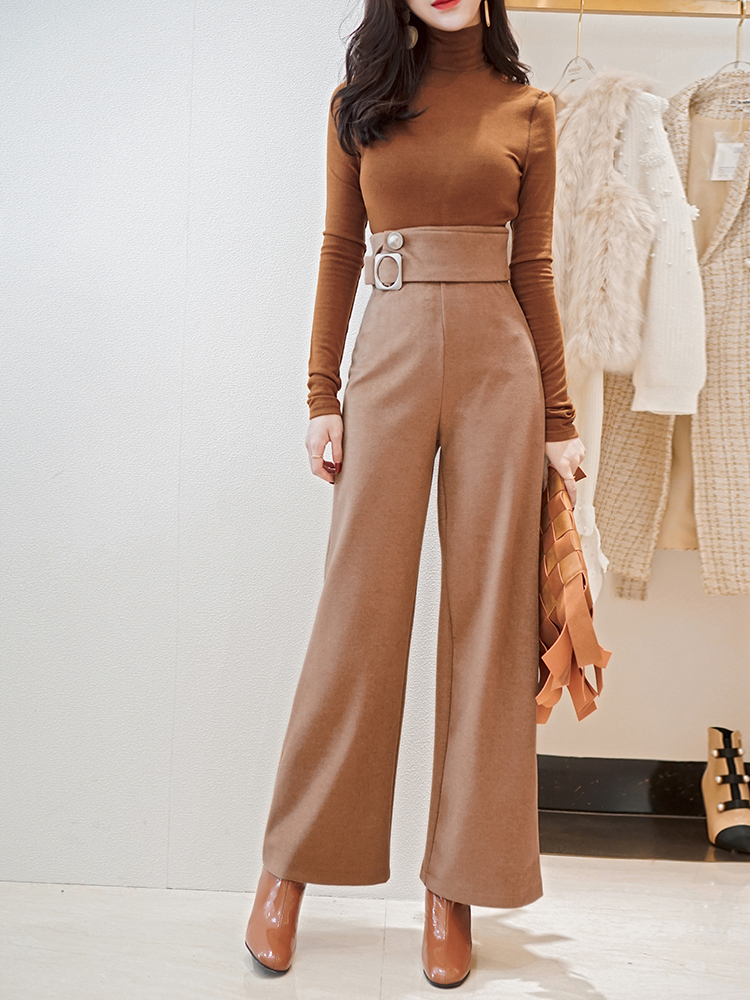 high quality autumn winter Female high waist straight woolen casual pants  wool Pant Office Lady wide leg pants woolen trousers