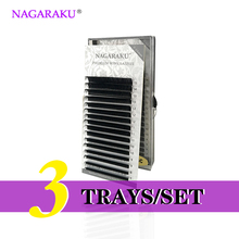 NAGARAKU   3 Trays/set  J B C D Curl  Length 7-15mm Mixed In One Tray Eyelash Extensions Individual Faux Mink Eyelash Lashes