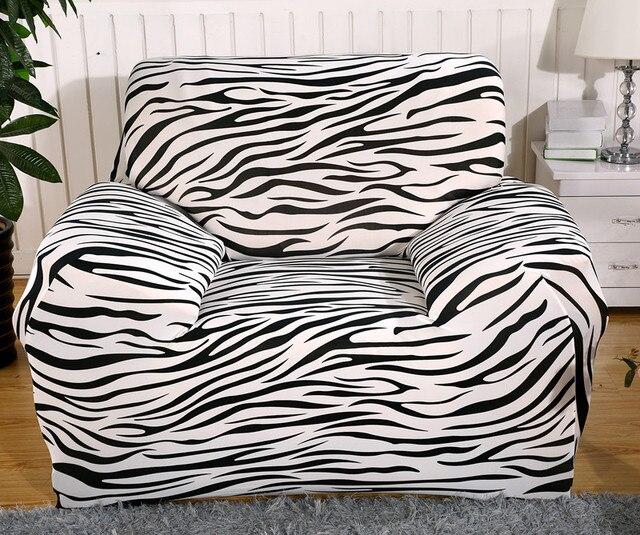 Spandex Stretch Zebra Sofa Cover Big Elasticity 100% Polyester Couch Cover  Loveseat SOFA Furniture Cover