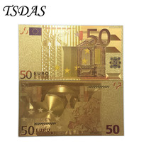 Darmowa wysyłka pozłacane banknoty EURO 24K złoty banknot w kolorach kreatywny prezent Euro 50 banknot tanie tanio TSDAS Patriotyzmu Metal Europa