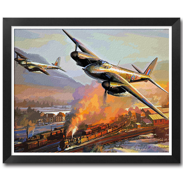 Paint By Numbers Adult Kit RAF WW2 Mosquito Fighter Bomber War