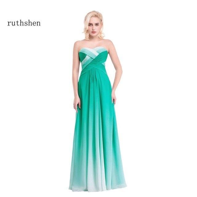 218b3d2683e Ruthéshen soirée longue robe vert dégradé robes de bal 2018 pas cher  nouveau plissé en mousseline