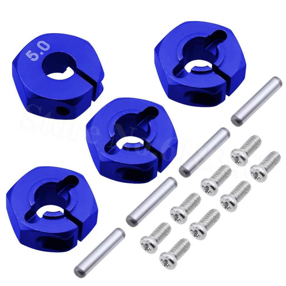 4 pcs Aluminium 5.0 Wheel Hex 12mm Drive Hubs Met Pins Schroeven CNC Voor RC Car Trucks Buggy HSP HPI Tamiya