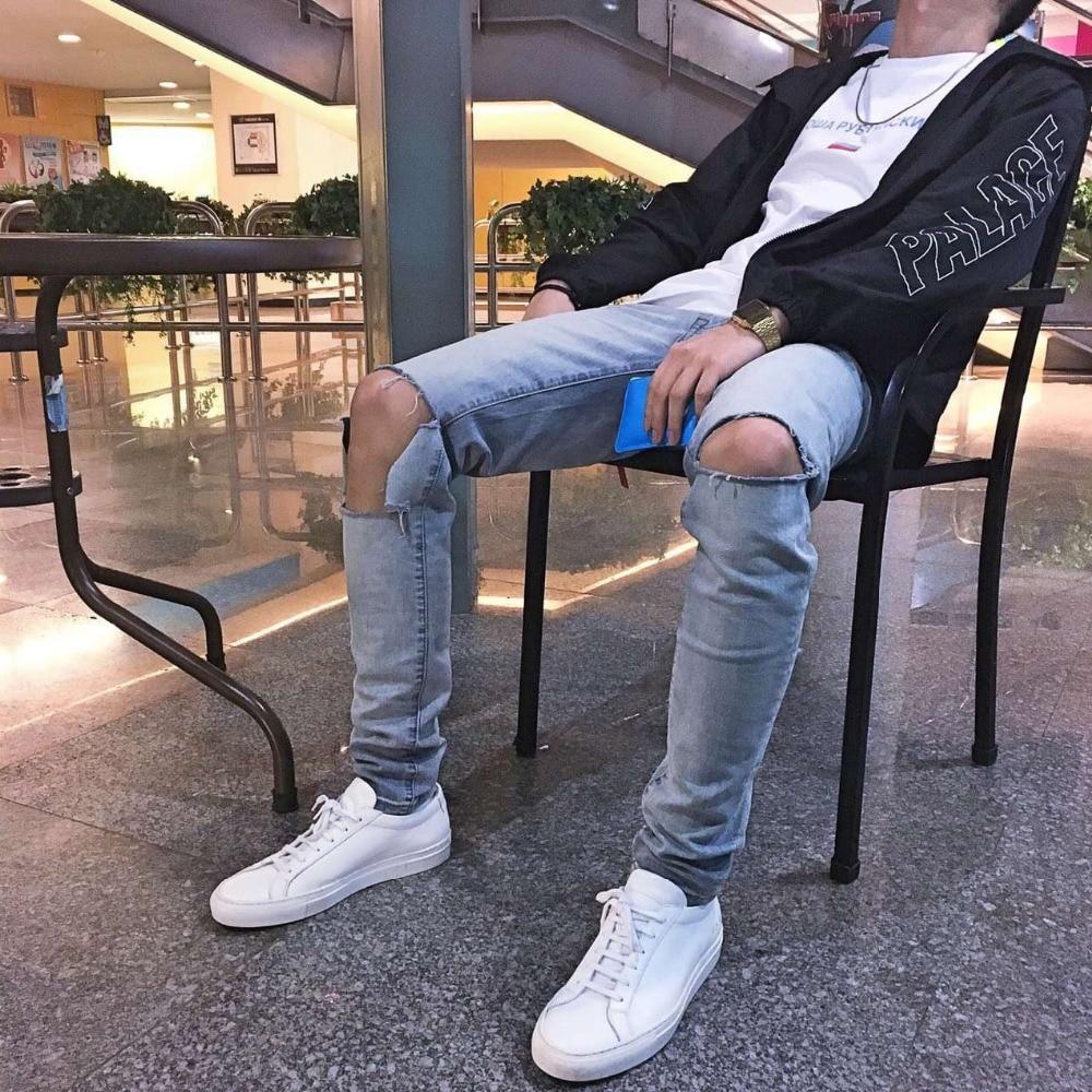 ФОТО Men destroy wash jeans knee knife-hole broken design pencil pants slim fit mens hip hop street wear GD same style clothing 30-36