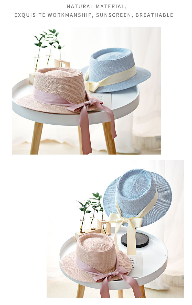 HTB1.R67aOjrK1RjSsplq6xHmVXae - Ymsaid New Summer Sun Hats Women Fashion Girl Straw Hat  Ribbon Bow Beach Hat Casual Straw Flat Top Panama Hat Bone Feminino