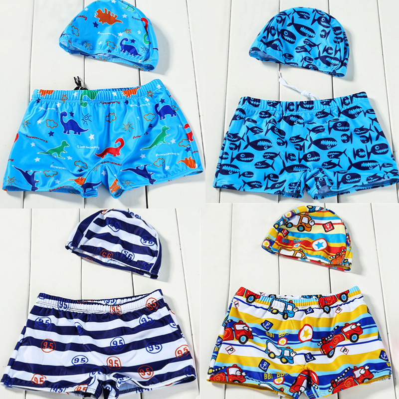 7ddd835a5a60f 3-14Y summer baby boy swimwear with cap bathing beach shorts fish dinosaur  printed children's swimming trunks pants board shorts