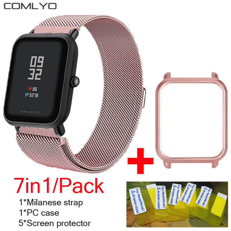 7in1 For Xiaomi Huami Amazfit Bip Strap Wristband Milanese Stainless Steel Smartwatch Bracelet Amazfit Bip Screen Protector Case