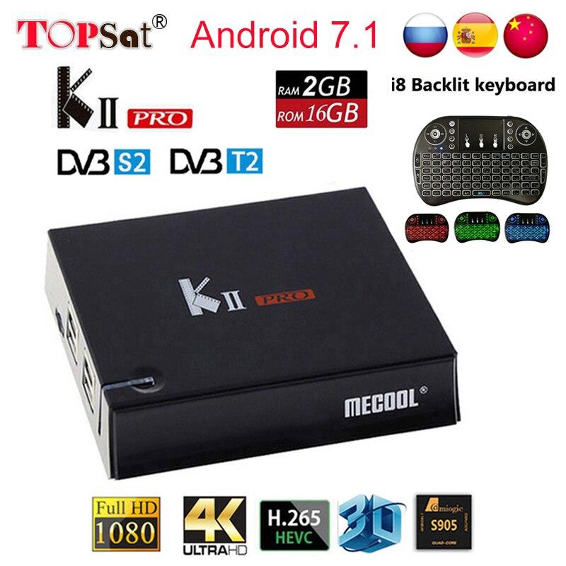 MECOOL KII Pro Android TV Box Android 7.1 DVB T2 DVB S2 Amlogic S905D Quad-core 4 k Médias lecteur soutien Clines iptv set top box