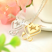 Medical Doctor Nurse Hollow Heart Stethoscope Cardiogram Pendant Necklace Long Chain Necklace