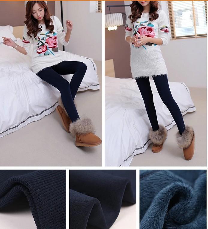CHRLEISURE Warm Women's Plus Velvet Winter Leggings Ankle-Length Keep Warm Solid Pants High Waist Large Size Women Leggings 13