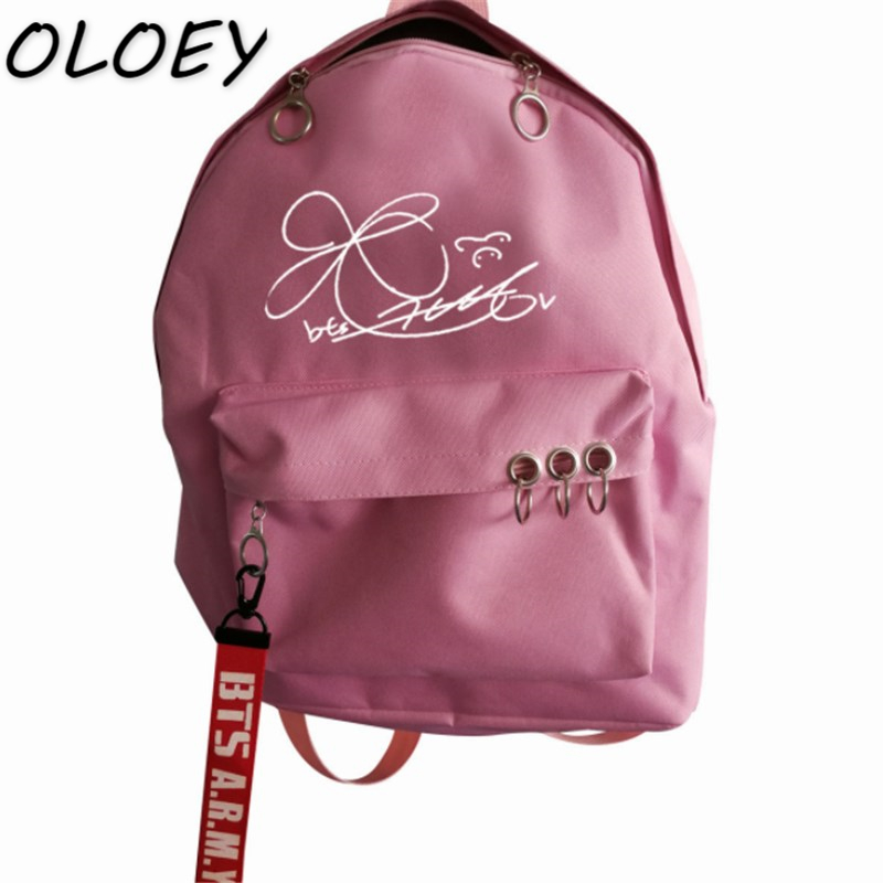 BTS Signature Canvas Backpack Army Kpop Bangtan Boys Bag Teenager ... 980e4550aac99