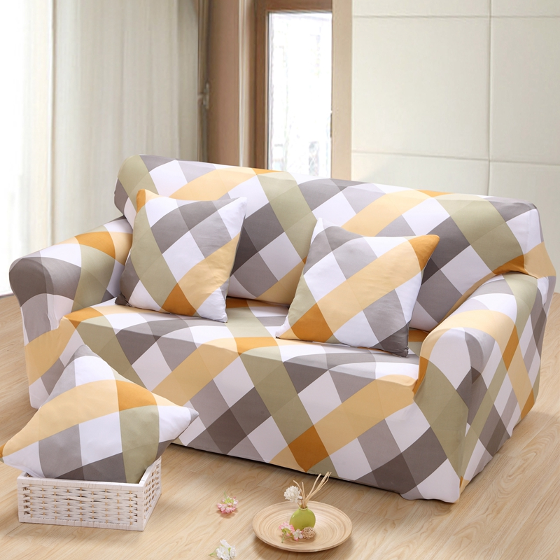 plaid Full sofa covers couch cover 3 Seat Sofa Cover Spandex Elastic Couch Case Seat Slipcover
