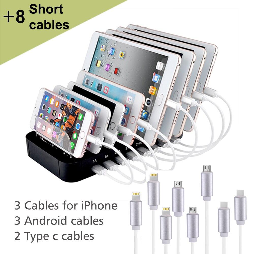 Evfun USB Chargeur Station Avec 8 Câble Court 2.4A Multi 8 Port de Stand Universel USB Rapide Station De Recharge Pour Téléphone iPhone Tablet