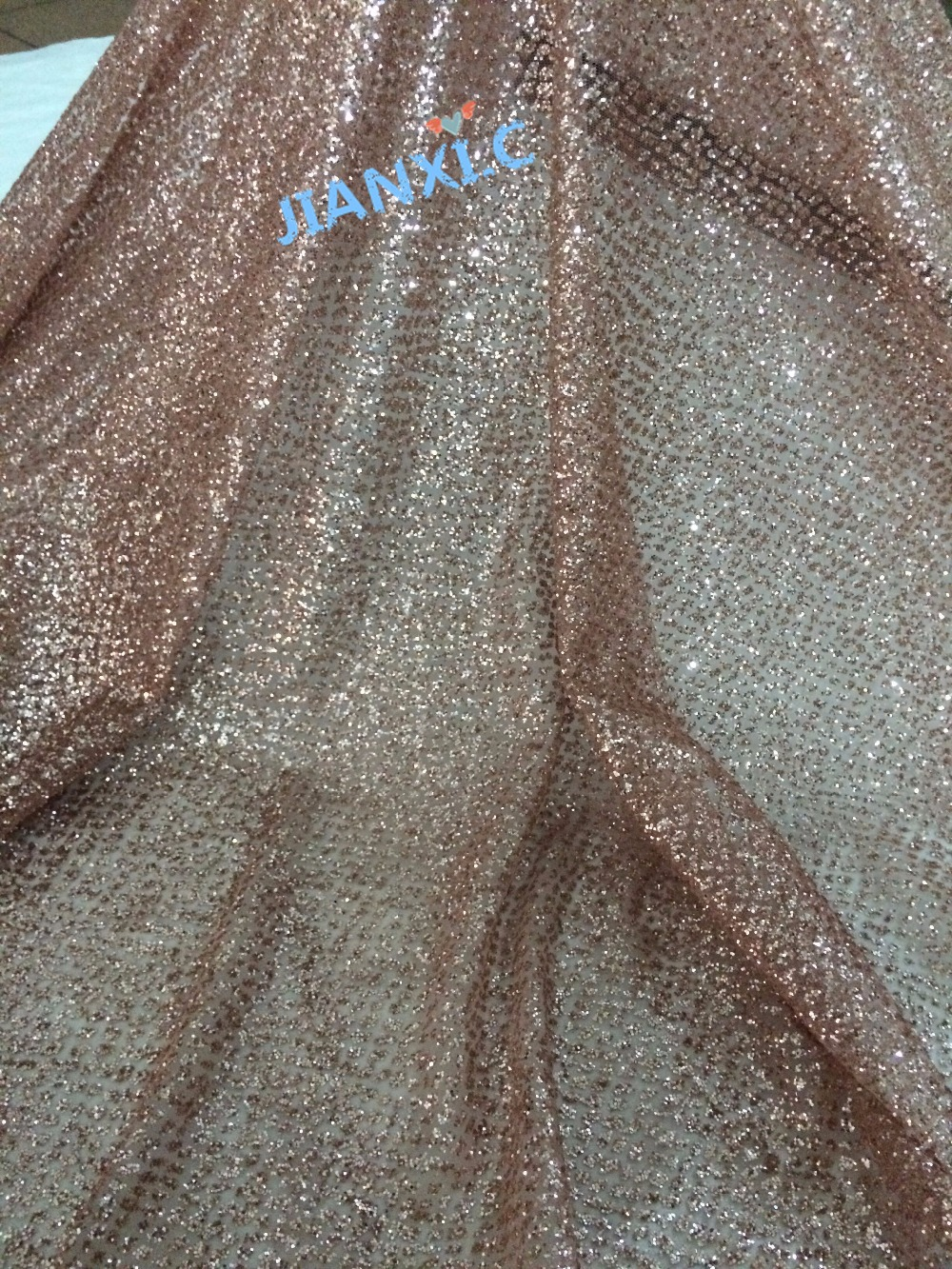shinning french net fabric JIANXI.C 92716 with glued glitter 5yd/lot glued glitter tulle lace fabric for evening dress-in Lace from Home & Garden    1