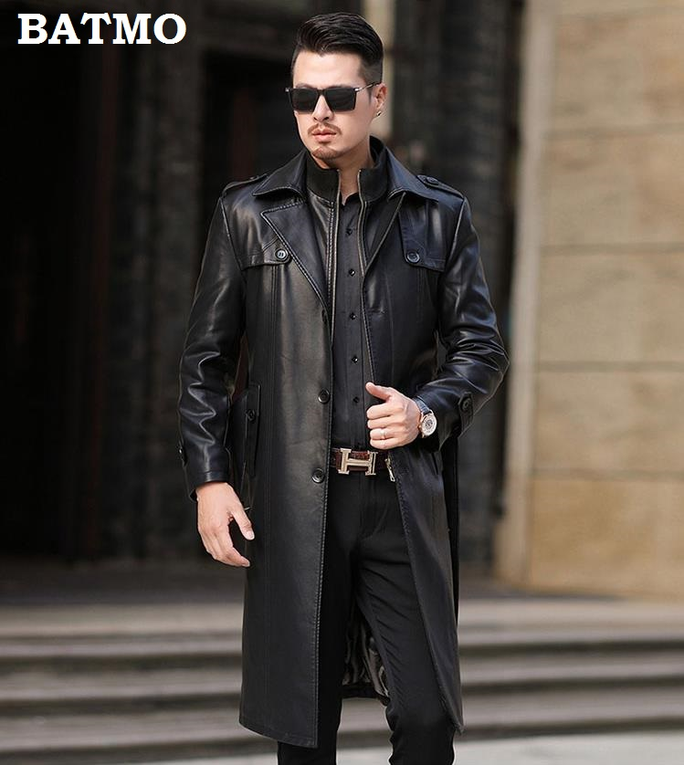 HTB1.R6hek5E3KVjSZFCq6zuzXXaj Batmo 2019 new arrival autumn&winter real Leather thicked trench coat men,Leather jacket men,plus-size S-5XL