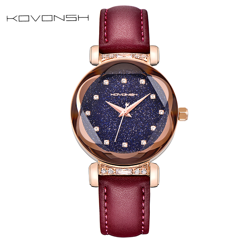 KOVONSH Luxury Leather Women Watches Lady Watch Fashion Dress Women Watch Girls Quartz Wrist Watches Gifts Present Dropshipping women lady dress watch retro digital dial leather band quartz analog wrist watch watches for dropshipping